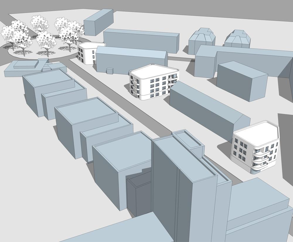 Wernecke + Jahn Architekten, Neubau Wohngebäude Geschäftsgebäude, Visualisierung, Volumenmodell, Neubau, berlin