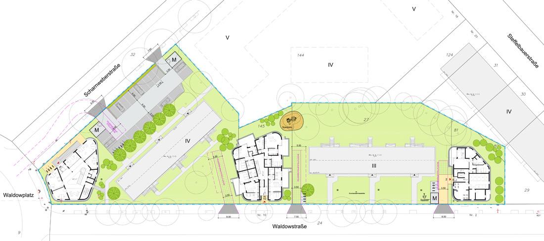 Wernecke + Jahn Architekten, Waldowstraße 2, Außenanlagen, Neubau Wohnungsbau, Berlin